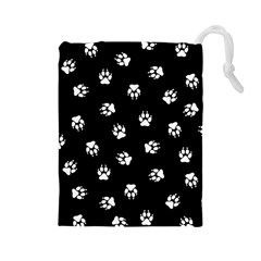 Footprints Dog White Black Drawstring Pouches (large)  by EDDArt