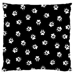 Footprints Dog White Black Large Flano Cushion Case (one Side) by EDDArt