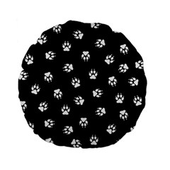Footprints Dog White Black Standard 15  Premium Flano Round Cushions by EDDArt