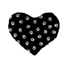 Footprints Dog White Black Standard 16  Premium Flano Heart Shape Cushions by EDDArt