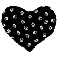 Footprints Dog White Black Large 19  Premium Flano Heart Shape Cushions by EDDArt