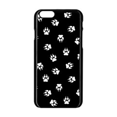 Footprints Dog White Black Apple Iphone 6/6s Black Enamel Case by EDDArt