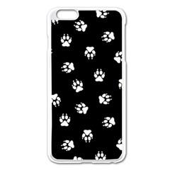 Footprints Dog White Black Apple Iphone 6 Plus/6s Plus Enamel White Case by EDDArt