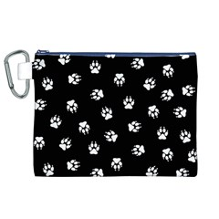 Footprints Dog White Black Canvas Cosmetic Bag (xl) by EDDArt