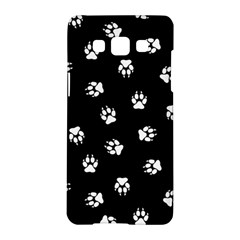 Footprints Dog White Black Samsung Galaxy A5 Hardshell Case  by EDDArt