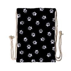Footprints Dog White Black Drawstring Bag (small) by EDDArt