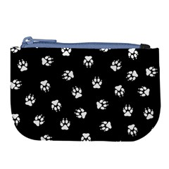 Footprints Dog White Black Large Coin Purse by EDDArt