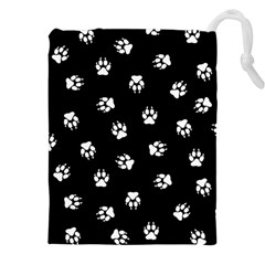Footprints Dog White Black Drawstring Pouches (xxl) by EDDArt