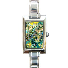 Flower Power Fractal Batik Teal Yellow Blue Salmon Rectangle Italian Charm Watch by EDDArt