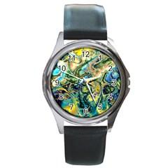 Flower Power Fractal Batik Teal Yellow Blue Salmon Round Metal Watch by EDDArt