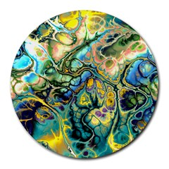 Flower Power Fractal Batik Teal Yellow Blue Salmon Round Mousepads by EDDArt