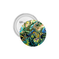 Flower Power Fractal Batik Teal Yellow Blue Salmon 1 75  Buttons by EDDArt