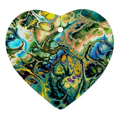 Flower Power Fractal Batik Teal Yellow Blue Salmon Ornament (heart) by EDDArt
