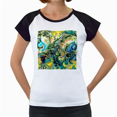 Flower Power Fractal Batik Teal Yellow Blue Salmon Women s Cap Sleeve T by EDDArt