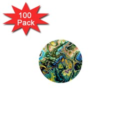 Flower Power Fractal Batik Teal Yellow Blue Salmon 1  Mini Buttons (100 Pack)  by EDDArt