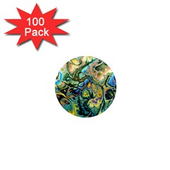 Flower Power Fractal Batik Teal Yellow Blue Salmon 1  Mini Magnets (100 Pack)  by EDDArt