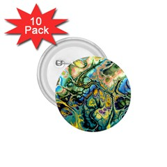 Flower Power Fractal Batik Teal Yellow Blue Salmon 1 75  Buttons (10 Pack) by EDDArt