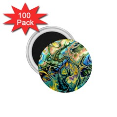 Flower Power Fractal Batik Teal Yellow Blue Salmon 1 75  Magnets (100 Pack)  by EDDArt
