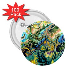 Flower Power Fractal Batik Teal Yellow Blue Salmon 2 25  Buttons (100 Pack)  by EDDArt