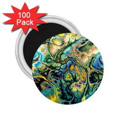 Flower Power Fractal Batik Teal Yellow Blue Salmon 2 25  Magnets (100 Pack)  by EDDArt