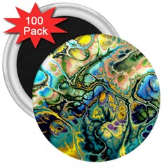 Flower Power Fractal Batik Teal Yellow Blue Salmon 3  Magnets (100 Pack) by EDDArt