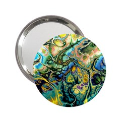Flower Power Fractal Batik Teal Yellow Blue Salmon 2 25  Handbag Mirrors by EDDArt