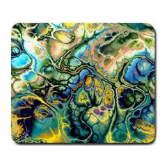 Flower Power Fractal Batik Teal Yellow Blue Salmon Large Mousepads by EDDArt