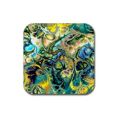Flower Power Fractal Batik Teal Yellow Blue Salmon Rubber Coaster (square)  by EDDArt