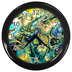Flower Power Fractal Batik Teal Yellow Blue Salmon Wall Clocks (black) by EDDArt