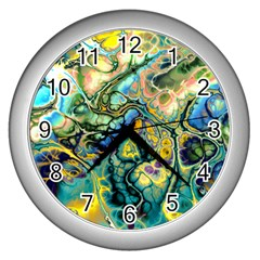 Flower Power Fractal Batik Teal Yellow Blue Salmon Wall Clocks (silver)  by EDDArt