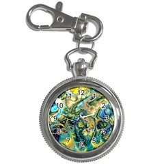 Flower Power Fractal Batik Teal Yellow Blue Salmon Key Chain Watches by EDDArt