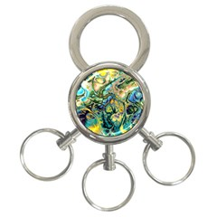 Flower Power Fractal Batik Teal Yellow Blue Salmon 3 Ring Key Chains by EDDArt