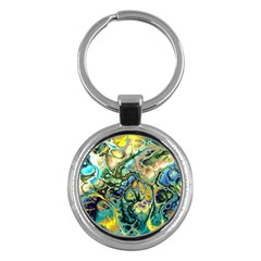 Flower Power Fractal Batik Teal Yellow Blue Salmon Key Chains (round)  by EDDArt