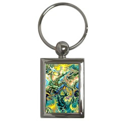 Flower Power Fractal Batik Teal Yellow Blue Salmon Key Chains (rectangle)  by EDDArt
