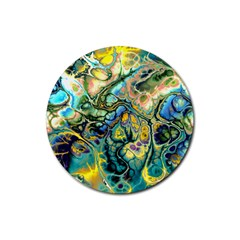 Flower Power Fractal Batik Teal Yellow Blue Salmon Rubber Coaster (round)  by EDDArt