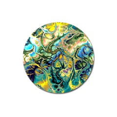 Flower Power Fractal Batik Teal Yellow Blue Salmon Magnet 3  (round) by EDDArt
