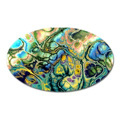 Flower Power Fractal Batik Teal Yellow Blue Salmon Oval Magnet by EDDArt