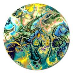Flower Power Fractal Batik Teal Yellow Blue Salmon Magnet 5  (round) by EDDArt