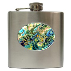 Flower Power Fractal Batik Teal Yellow Blue Salmon Hip Flask (6 Oz) by EDDArt