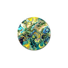 Flower Power Fractal Batik Teal Yellow Blue Salmon Golf Ball Marker by EDDArt