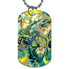 Flower Power Fractal Batik Teal Yellow Blue Salmon Dog Tag (two Sides) by EDDArt