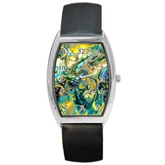 Flower Power Fractal Batik Teal Yellow Blue Salmon Barrel Style Metal Watch by EDDArt
