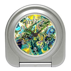 Flower Power Fractal Batik Teal Yellow Blue Salmon Travel Alarm Clocks by EDDArt
