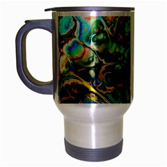 Flower Power Fractal Batik Teal Yellow Blue Salmon Travel Mug (silver Gray) by EDDArt
