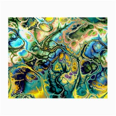 Flower Power Fractal Batik Teal Yellow Blue Salmon Small Glasses Cloth by EDDArt