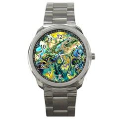 Flower Power Fractal Batik Teal Yellow Blue Salmon Sport Metal Watch by EDDArt