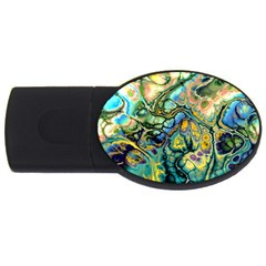Flower Power Fractal Batik Teal Yellow Blue Salmon Usb Flash Drive Oval (4 Gb) by EDDArt