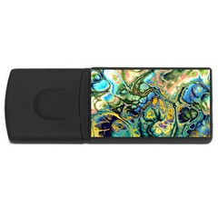 Flower Power Fractal Batik Teal Yellow Blue Salmon Usb Flash Drive Rectangular (4 Gb) by EDDArt