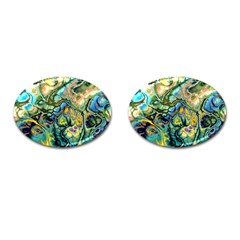 Flower Power Fractal Batik Teal Yellow Blue Salmon Cufflinks (oval) by EDDArt