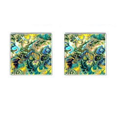 Flower Power Fractal Batik Teal Yellow Blue Salmon Cufflinks (square) by EDDArt